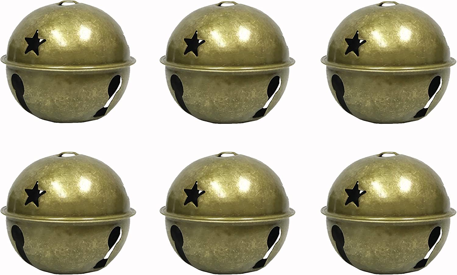 Large Jumbo Size Christmas Star Cutout Jingle Sleigh Bell Ornament 3 Pack Of 6 Antique Copper Arts Crafts Sewing