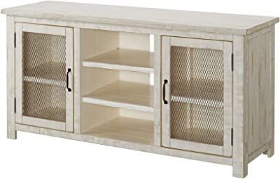Benjara 60 Inch Rustic Wooden TV Stand with Mesh Design, Antique White