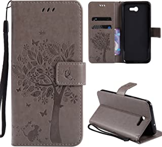 Galaxy J3 Prime Wallet Case,HAOTP Love Tree Embossed Plants PU Flip Stand ID Card Holders TPU Inner Bumper Leather Case for Samsung Galaxy J3 Emerge / J3 2017 / Amp Prime 2 / Express Prime 2 Gray
