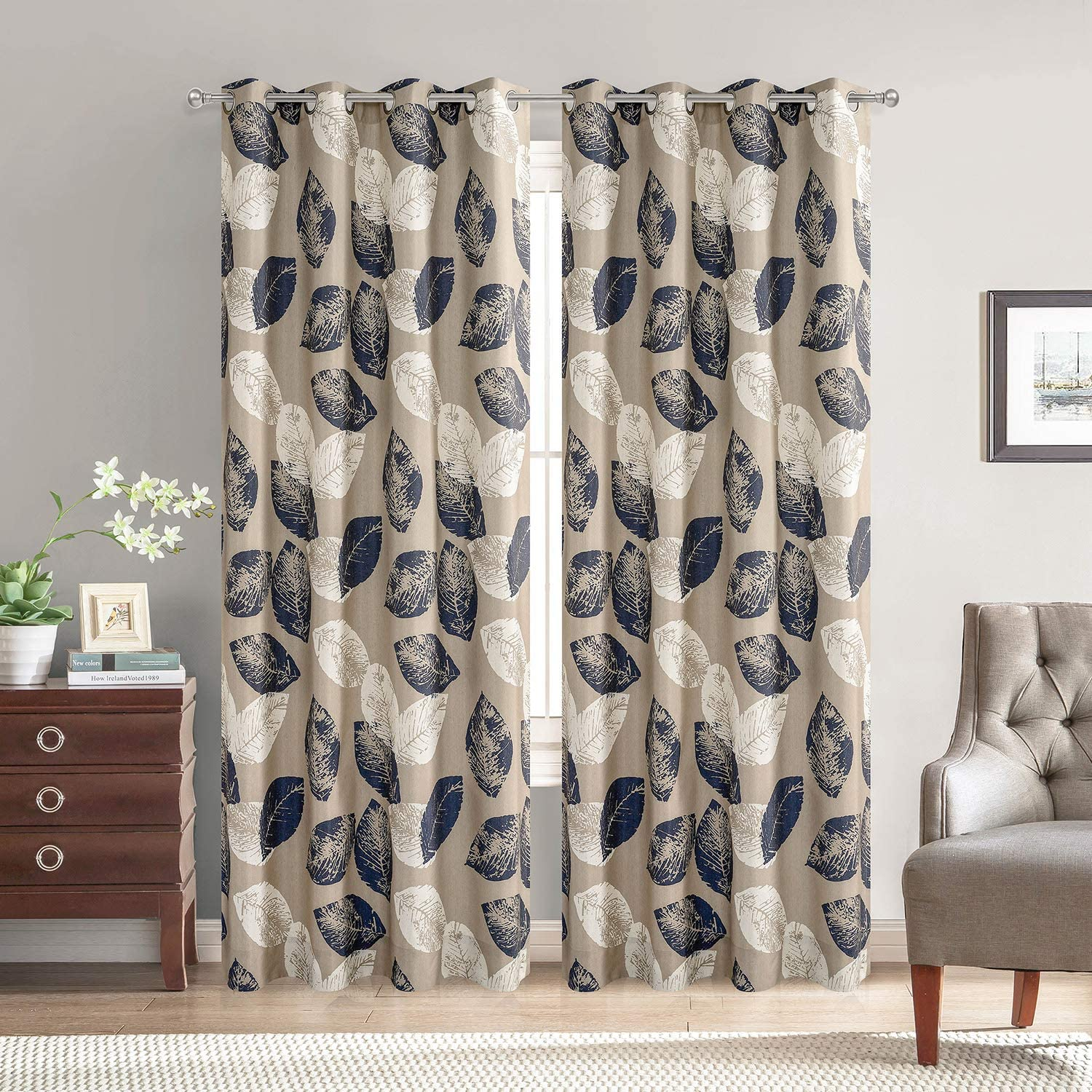 VOGOL Fashionable Curtains 106 Inches Long Navy Leaves Grommet Curtain Drapes for Bedroom and Living Room, 70%-80% Light Shading, 2 Panels, W60 x L106 inch