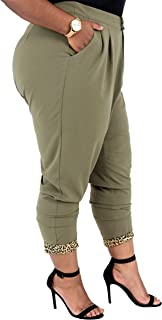 Poetic Justice Plus Size Curvy Women Olive Green Straight Leg Jodhpur Work Pants