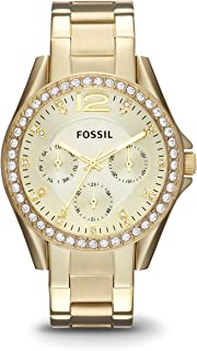 Fossil Womens ES3203 Riley Multifunction Gold-Tone Stainless Steel Watch