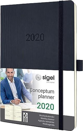 SIGEL C2022 Agenda semainier 2020 Conceptum, couverture souple ,13,5 x 21 cm, noir