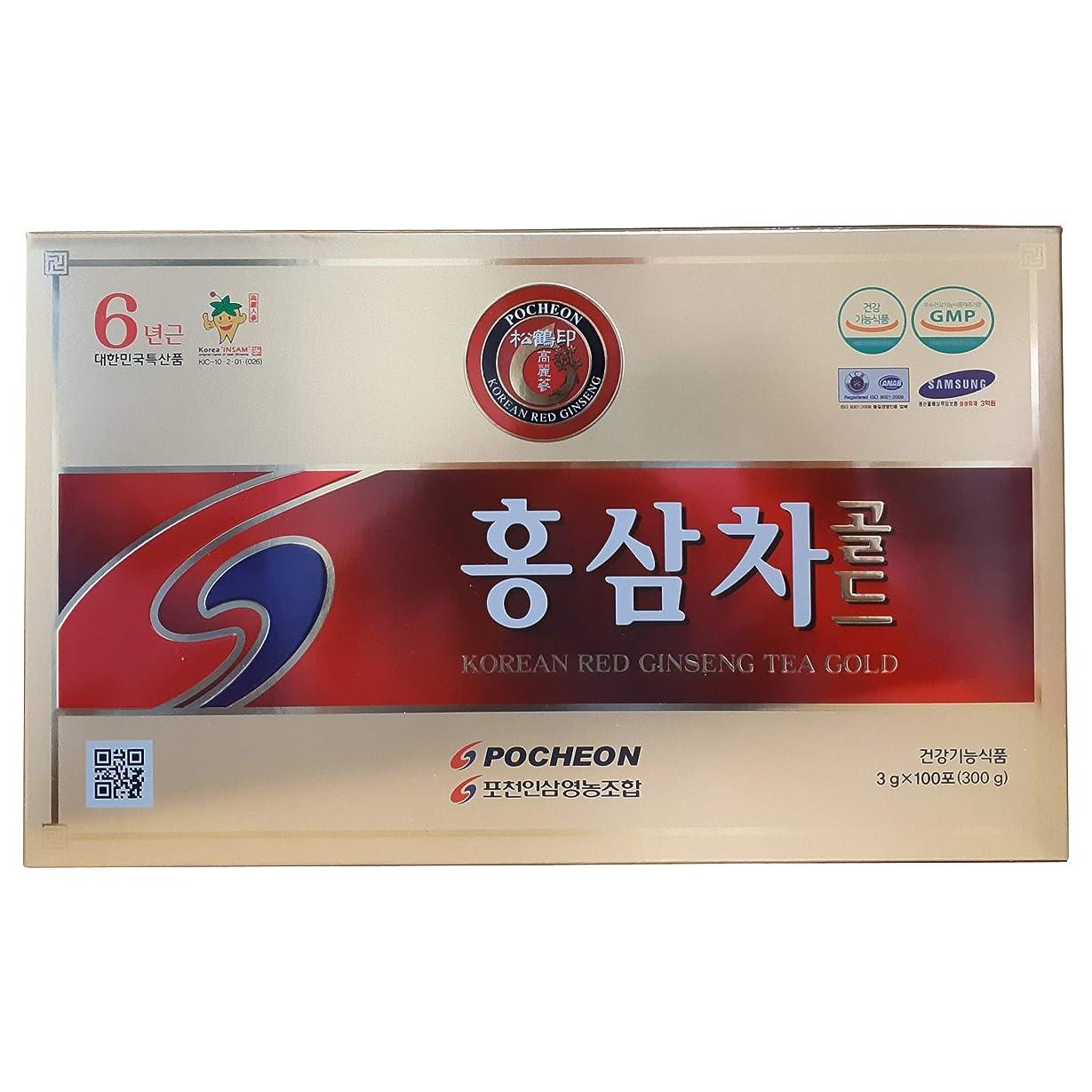 高麗人参 抱川人参営農組合 6年根 高麗紅参茶 3g×100包, 濃縮液 15%