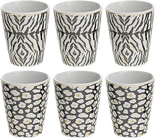 Secret DE Gourmet Jungle Lot de 6 Mugs en Porcelaine 100 ML