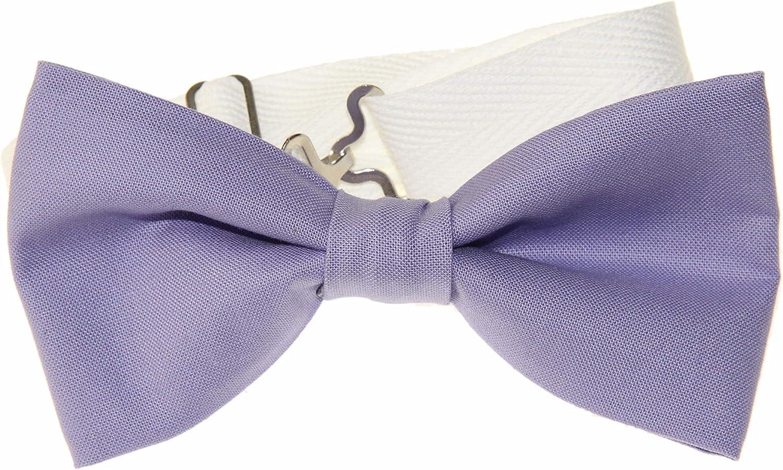 Men's Lavender Purple Pre-Tied Adjustable Cotton Bow Tie