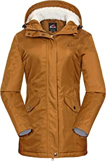 svacuam Women's Waterproof Windproof Snow Ski Hooded Jacket Winter Fleece Parka Rain Coats for Hiking