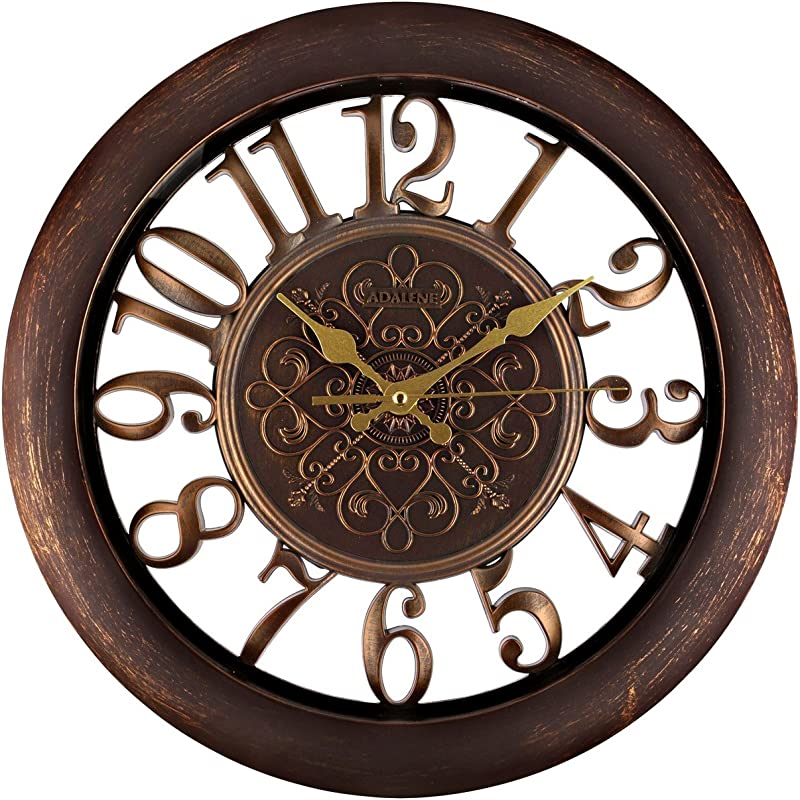 Adalene Wall Clocks Battery Operated Non Ticking Completely Silent Quartz Movement Vintage Rustic Clocks For Living Room Decor Kitchen Bedroom Bathroom Modern Retro Wall Clock Large Decorative