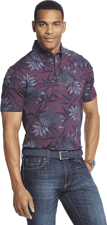 Van Heusen Men's Big and Tall Air Short Sleeve Soft Touch Print Polo Shirt