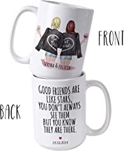 Custom Best Friend Gifts, 15oz Coffee Mugs for Women - Long Distance Friendship - Choose Hair - Skin Color Personalized Cup w Names for Besties, Bff, Friends Birthday - Moving Away, Christmas Gifts