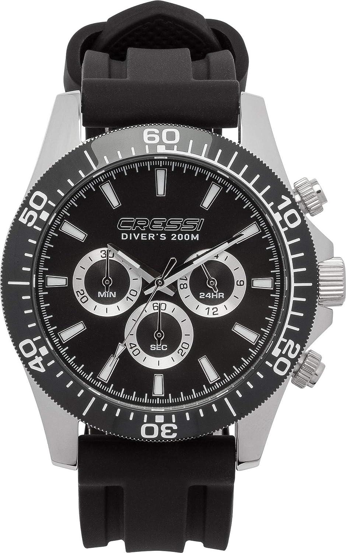 Cressi Nereus Watch Reloj Cronógrafo Submarino Profesional 200 m / 20 ATM, Unisex-Adult