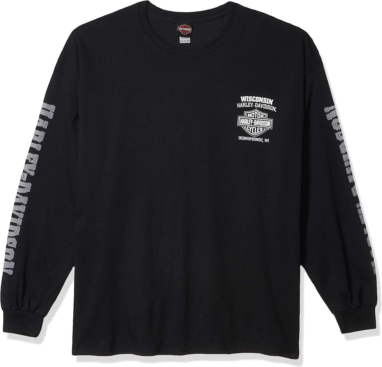 Harley-Davidson Men's Skull Lightning Crest Graphic Long Sleeve Shirt, Black