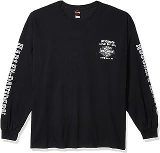 Men's Skull Lightning Crest Graphic Long Sleeve Shirt, Black