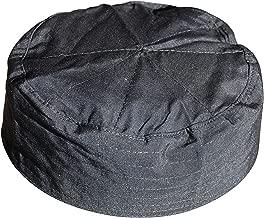 TheKufi Black Flat Top Men & Kids Simple Stitch Design Cloth Muslim Kufi Namaz Cap Hat