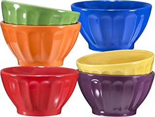 Ceramic Groove Bowls - Cereal, Soup, Ice Cream, 14oz. Set of 6, Assorted Colors By Bruntmor (Multi-Color)