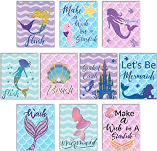 Blulu 10 Pieces Let's Be Mermaids Poster Ocean Mermaid Sign 12.4 x 10.2 Inch Unframed Art Print for Mermaid Party Girls Be...