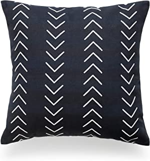 Hofdeco African Mudcloth Pillow Cover ONLY, Black Case Arrowhead, 18