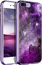 BENTOBEN iPhone 8 Plus Case, iPhone 7 Plus Case, Slim Fit Glow in The Dark Hybrid Hard PC Soft TPU Bumper Drop Protective Girls Women Men Phone Cover for iPhone 8 Plus/7 Plus, Purple Galaxy
