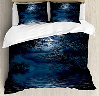 Ambesonne Night Sky Duvet Cover Set Queen Size, Witchcraft Spell Ceremony Atmosphere Forest Full Moon Branches Image, Decorative 3 Piece Bedding Set with 2 Pillow Shams, Light Blue and Black