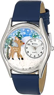 product image for Whimsical Watches Women's S1220002 Christmas Reindeer Royal Blue Leather Watch