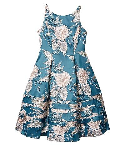 Adrianna Papell Jacquard Midi Dress (Teal Multi) Women