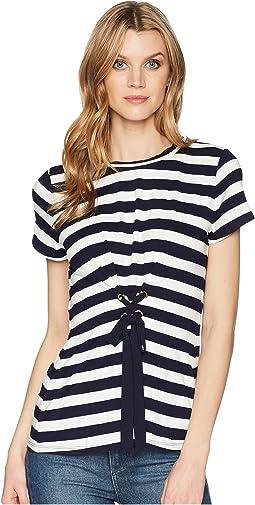 Stripe Knit Short Sleeve Tie Corset Tie Front Tee