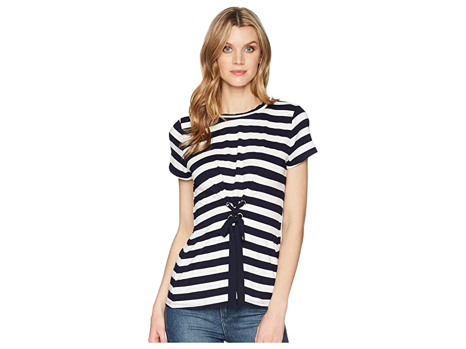 Ivanka Trump Stripe Knit Short Sleeve Tie Corset Tie Front Tee (Navy/Ivory) Women's Clothing, Blue