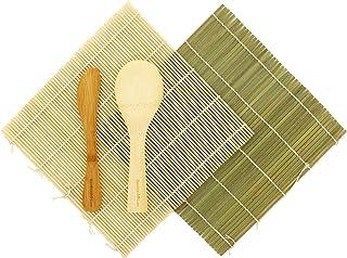 BambooMN Sushi Rolling KIT 2x bambú Rolling alfombrillas, 1x arroz Paddle, 1x cuchillo