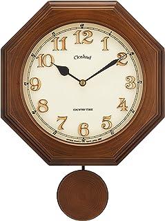 さんてる レトロ 電波 振り子 柱時計 日本製掛け時計 八角 (木文字) DQL635 アンティークブラウン φ270×380mm