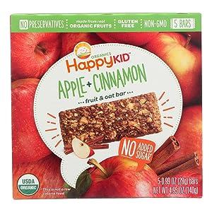 HappyKid Organic Apple & Cinnamon Fruit & Oat Bar 5 Count, 4.95 OZ