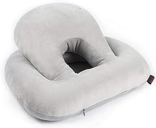 お昼寝 仮眠枕 うつ伏せ 丸型 O型クッション うたた寝 顔に跡つかず オフィスで/机で/椅子 多機能まくら 高さ調整 携帯枕 健康枕 抱き枕 背あてクッション,濃い灰色 グレー
