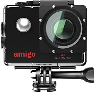 Amigo AC-40 4K Sports Action Camera with 16MP High Resolution with Wi-Fi | 4K Ultra HD Video Recording with 120 Degree Wide Angle Lens and Waterproof Upto 30 Meters (Black)