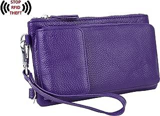 YALUXE Women's RFID Blocking Leather Wristlet Crossbody Wallet with Pocket for iPhone 7 Plus Purple