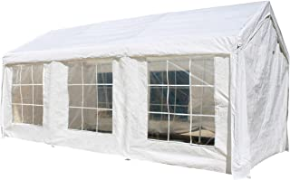 ALEKO CPWT1020 Outdoor Event Gazebo Canopy Tent with Sidewalls and Windows 10 x 20 x 8 Feet White