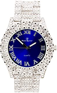 Mens Silver Big Rocks Bezel Royal-Blue Dial with Roman Numerals Fully Iced Look Watch - Royal Blue/Silver - ST10327