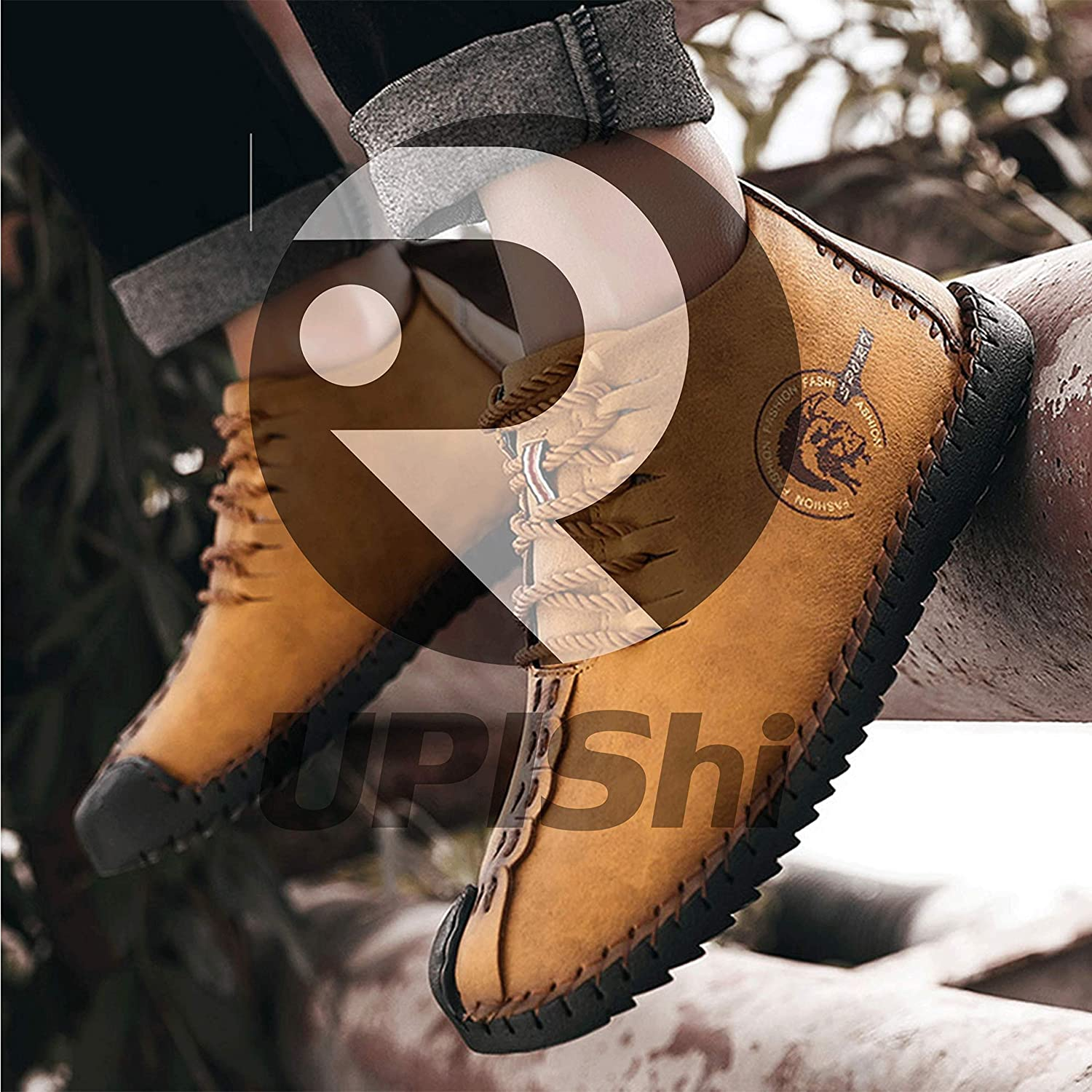 UPIShi Mens Suede Fur Lining Winter Lace-up Oxford Leather Handmade Driving Ankle Boots Chukka Casual Shoes