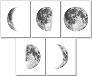 Moon Phases Art Prints (Set of 5) - Wall Decor - 8x10 - Unframed