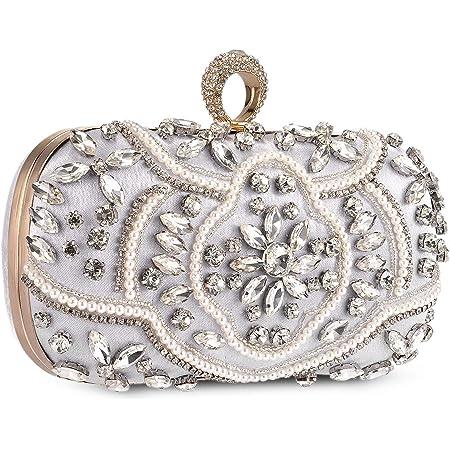 Abendtasche Damen Diamant Clutch Bag Kette Shiny Strass Handtasche Klein Tasche für Hochzeit Party - Silber
