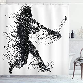 Ambesonne Black and White Shower Curtain, Abstract Illustration of a Baseball Player Posing Grunge, Cloth Fabric Bathroom Decor Set with Hooks, 84