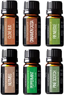 Winter Essential Oils Set - Gift Set of 6 Classic Holiday Essential Oils - Cinnamon, Clove, Peppermint, Pine, Nutmeg & Fir...