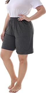 ZERDOCEAN Women's Plus Size Modal Stretchy Relaxed Lounge Shorts with Pockets Dark Gray 4X