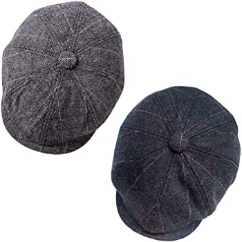 2 Pack Newsboy Hats for Men Classic 8 Panel Wool Blend Applejack Gatsby Peaky Blinders Ivy Hat