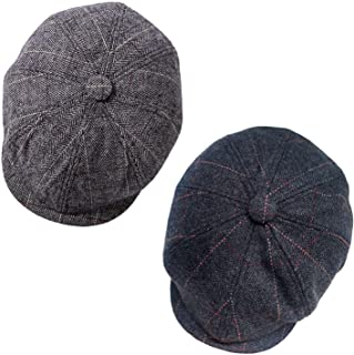 1-2 Pack Newsboy Hats for Men Classic 8 Panel Wool Blend Applejack Gatsby Peaky Blinders Ivy Hat