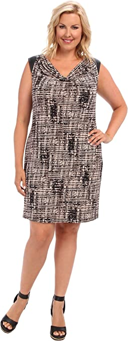 Plus Size Short Sleeve Dress w/ PU Shoulder