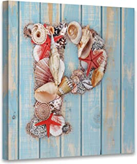 Letter P Made of Seashell on Blue Wooden,Modern Home Decor to Hang Wall Decor for Living Room Decor Read to Hang 12x12