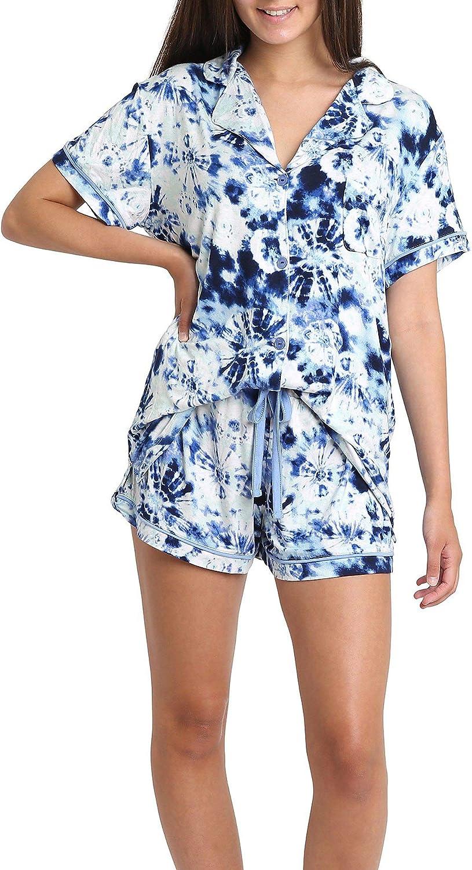Wallflower Juniors Tie Dye Boxer Pajama Shorts Set