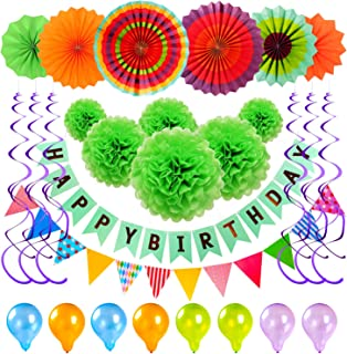 Birthday Party Decorations Kit , Halloween Party Decoration Supplies with Happy Birthday Banner, Triangle Banner, Pom Pom Flowers, Green Fan Garland Flowers, Balloons for Birthday, Baby Shower, Wedding, Celebration Party