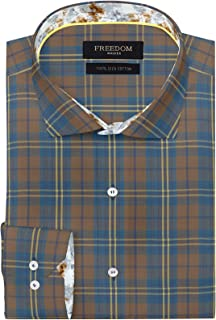 FREEDOM WALKER Brown Checkered Shirt Regular Fit Men's Formal and Casual Wear 100% Cotton Egyptian Giza Cotton