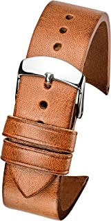 Hand Made Genuine Vintage Leather Watch Band with Curved Ends - Black, Brown, Tan - 22mm