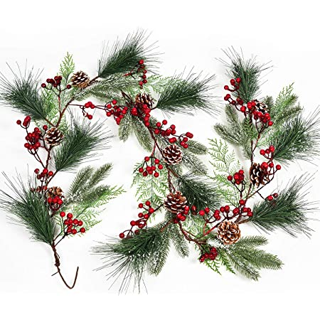 "Miniature dollhouse stairway rail Christmas garland//silk bows//berries//17/"" long"